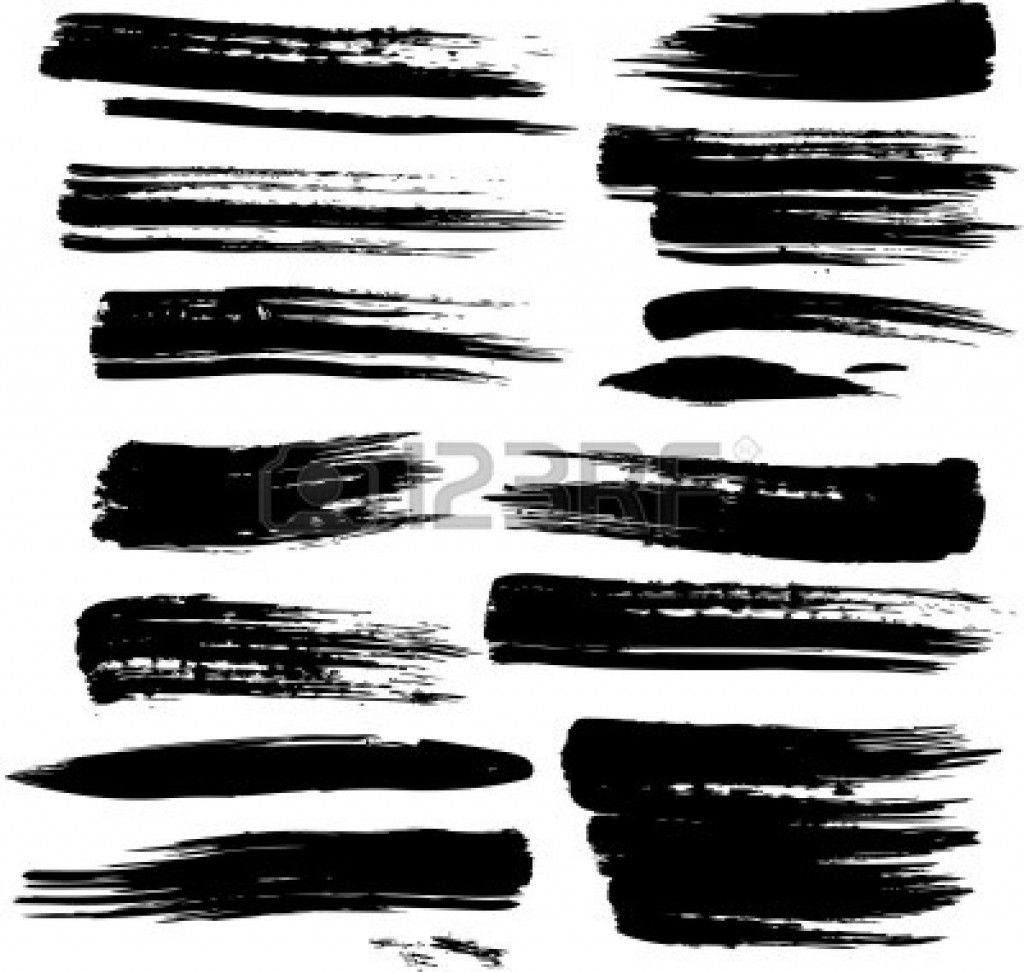 Paint brush strokes clipart black and white clip free library Black Paint Brush Stroke Set Of Grunge Brush Strokes Royalty Free ... clip free library