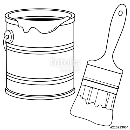 Paint can and brush clipart black and white graphic free library Paint bucket and a brush. Black and white coloring book page\