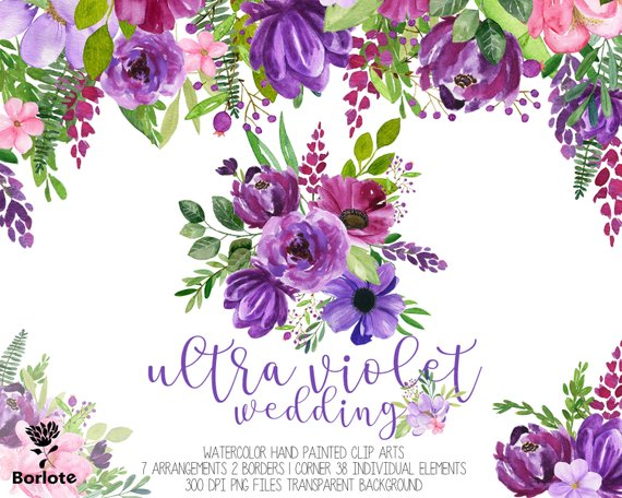 Painted purple roses for corner decorations clipart banner Watercolor purple floral cliparts, Ultra Violet watercolor flowers ... banner