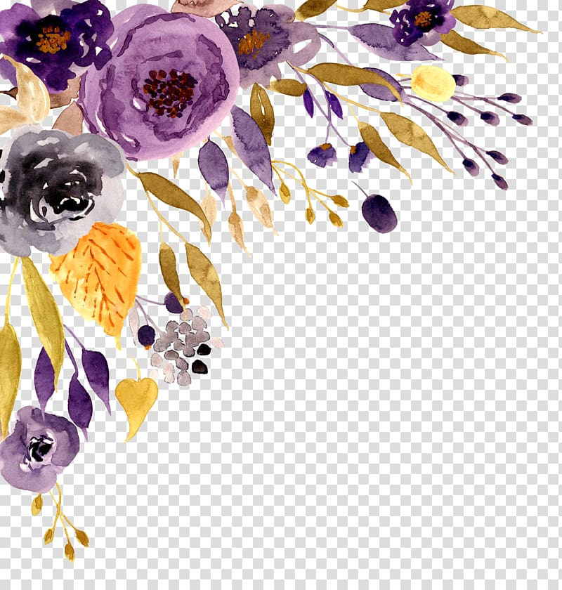 Painted purple roses for corner decorations clipart banner transparent Wedding invitation Flower Watercolor painting, Watercolor flower ... banner transparent