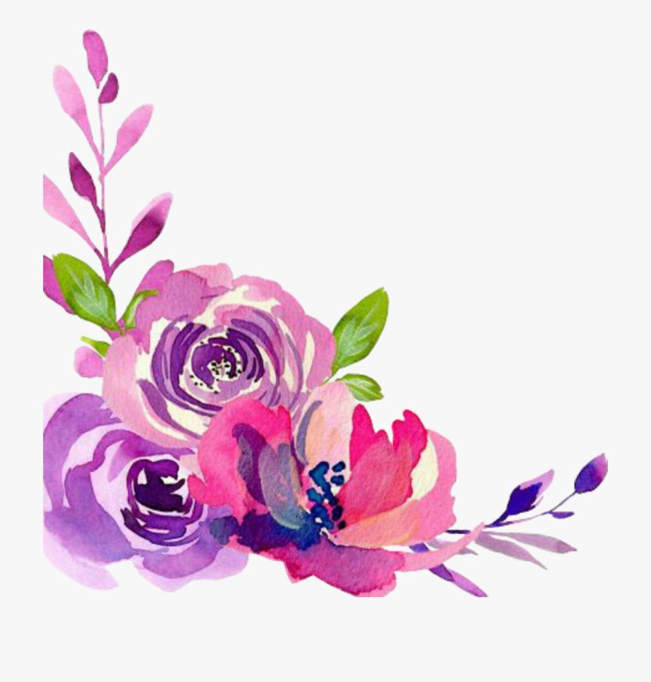 Painted purple roses for corner decorations clipart jpg free download Corner Transparent Watercolor Floral - Watercolor Flower Border ... jpg free download