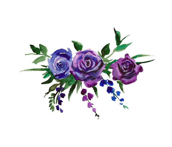 Painted purple roses for corner decorations clipart black and white library Watercolor Bouquet Flowers, Blue and Electric Purple, Watercolor ... black and white library