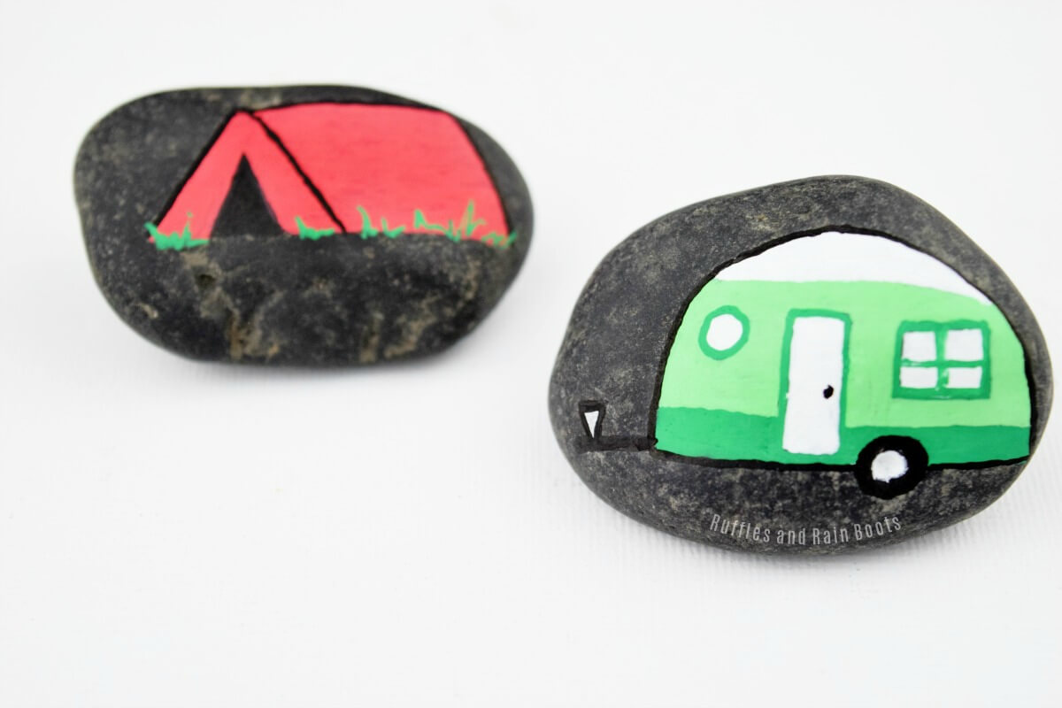 Painted rock clipart image black and white stock 13 Camping Story Stones That Will Impress All Campers image black and white stock