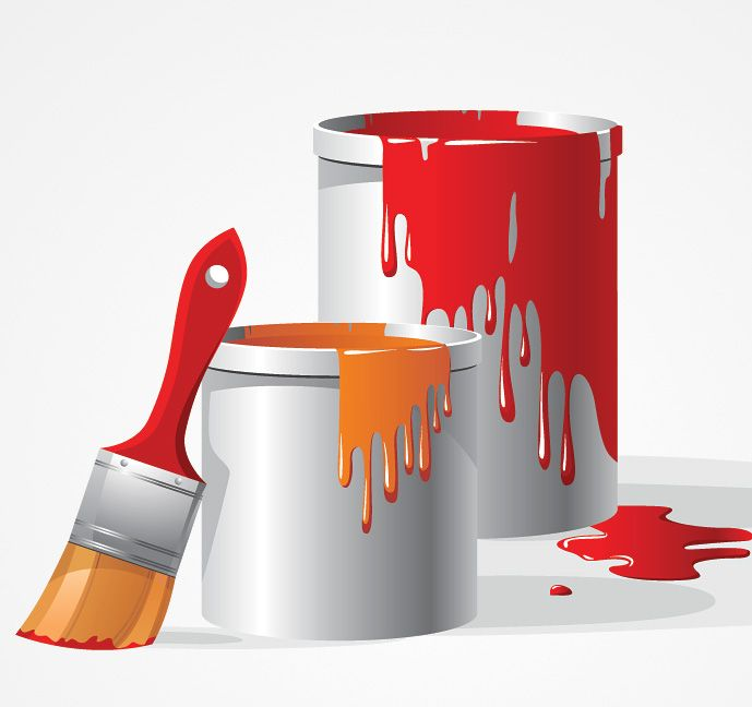 Painter with foot in paint bucket clipart clipart freeuse Paint Bucket & Brush Vector Clip Art (Free) | Free Vector ... clipart freeuse