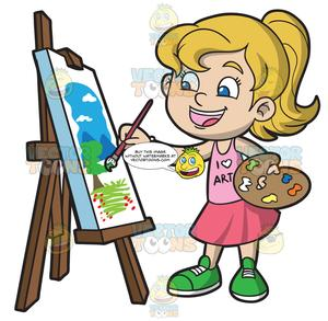 Painting clipart free download A Girl Painting A Landscape free download
