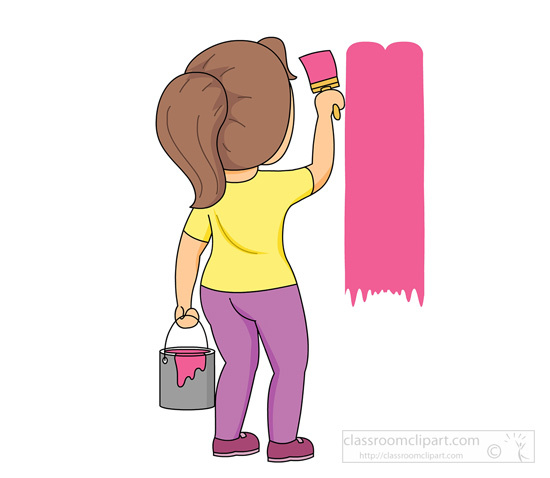 Painting the wall clipart jpg freeuse stock Household Clipart Girl With Paint Brush Painting Wall, People ... jpg freeuse stock
