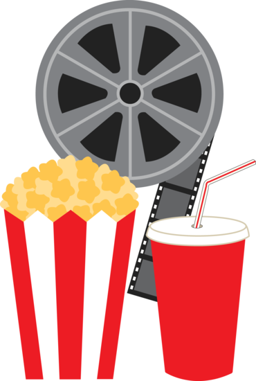 Pair of pink cinema movie tickets clipart graphic royalty free library Clip art of a movie film reel with a bag of popcorn and a ... graphic royalty free library