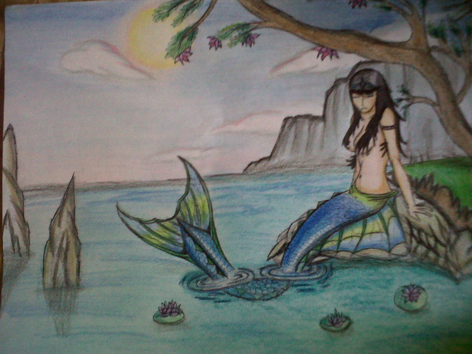 Paisaje lapiz color clipart png transparent library Dibujo: Creando una sirena - Taringa! png transparent library