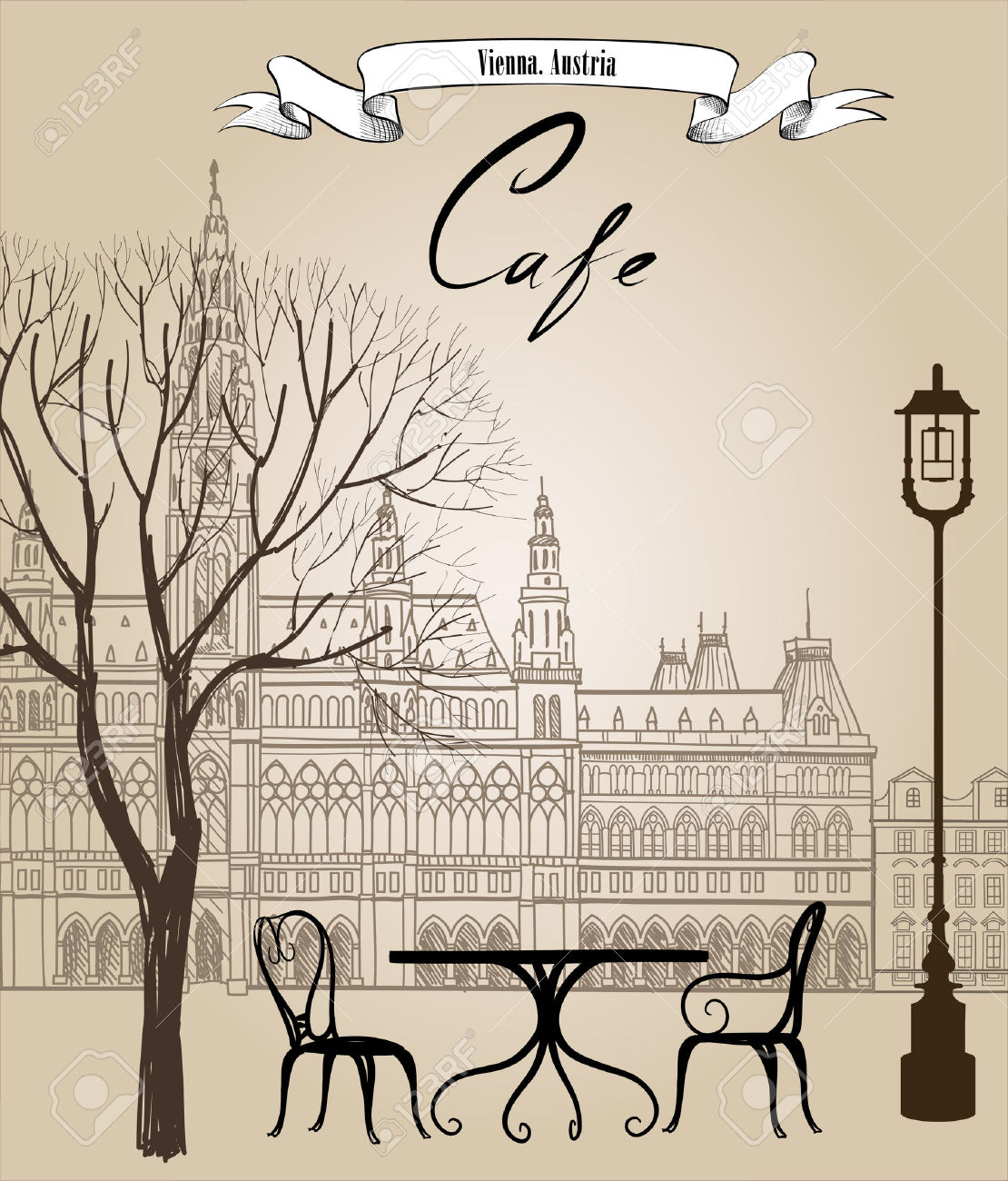 Paisaje lapiz color clipart image freeuse Street Cafe In Old City. Cityscape - Houses, Buildings And Tree ... image freeuse