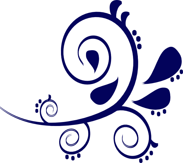 Paisley flower clipart image black and white Paisley Curves Blue Clip Art at Clker.com - vector clip art online ... image black and white