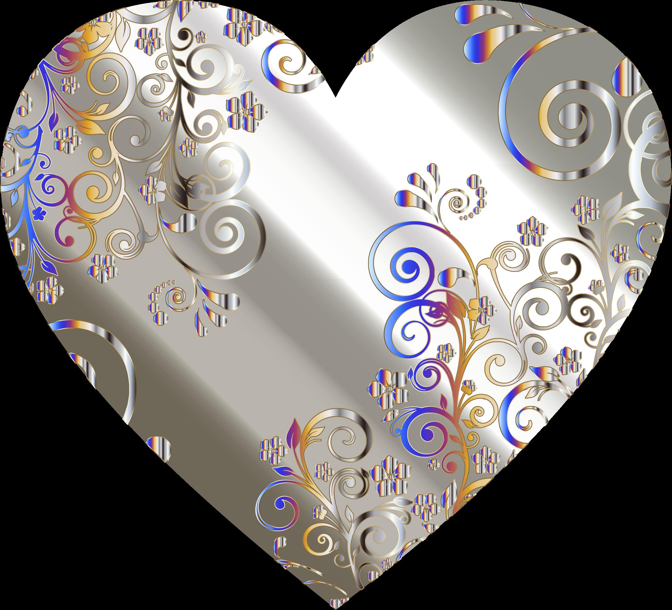 Paisley heart clipart free Clipart - Prismatic Floral Flourish Heart 8 free