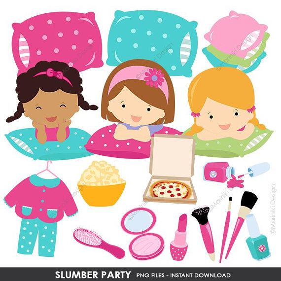 Pajama party clipart image library library Slumber Party Clipart, Pajamas Party, Girl Sleepover Birthday Party ... image library library