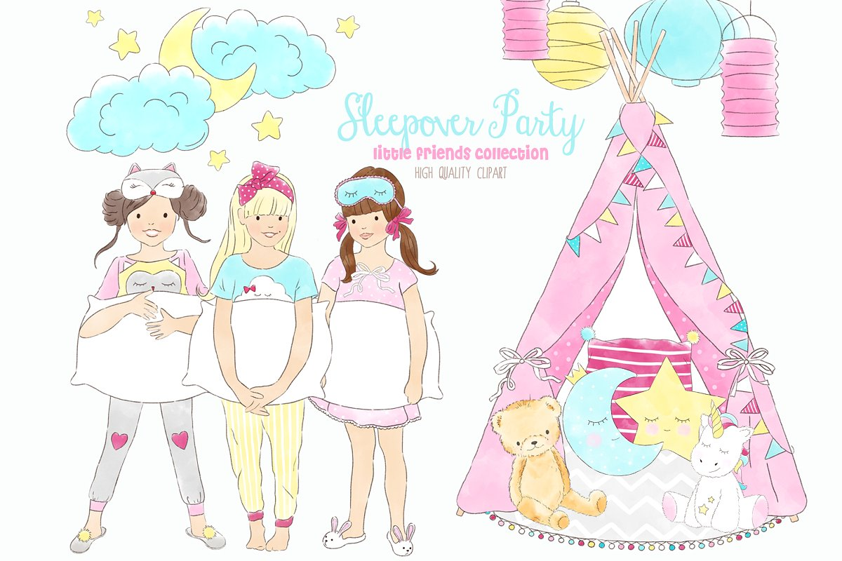 Pajama party clipart picture free library Slumber Sleepover Pajama Party ~ Illustrations ~ Creative Market picture free library