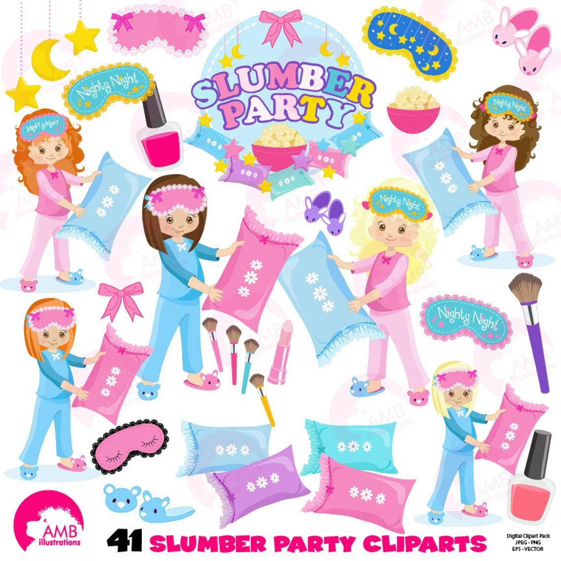 Pajama party clipart graphic free stock Slumber party, girls sleep over, pyjama party clipart, Birthday ... graphic free stock