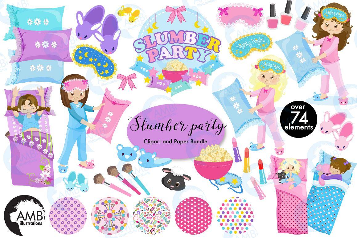 Pajama party clipart vector royalty free Slumber party, Pyjama Party clipart MEGA Bundle, graphics AMB-1800 vector royalty free
