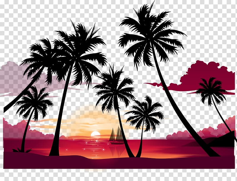 Palm beach party background sunset clipart graphic transparent stock Display resolution Summer , Beach sunset poster background ... graphic transparent stock