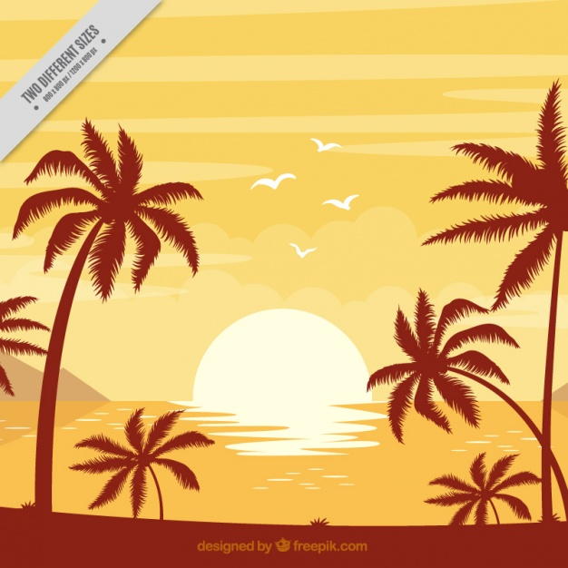 Palm beach party background sunset clipart svg free Background of beach with palm trees at sunset Vector   Free ... svg free