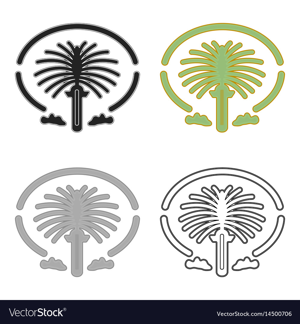 Palm jumeirah clipart jpg transparent stock The palm jumeirah icon in cartoon style isolated vector image jpg transparent stock