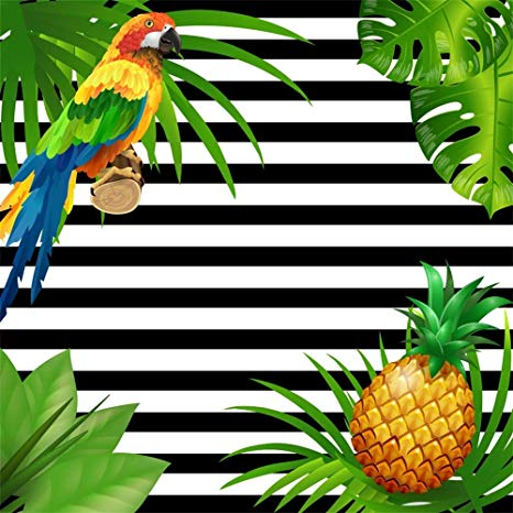 Palm leaves with pineapple clipart black and white clip art transparent library LFEEY 8x8ft Black and White Stripes Photography Background Summer Tea Party  Events Decor Tropical Palm Tree Leaves Parrot Pineapple Backdrop for ... clip art transparent library