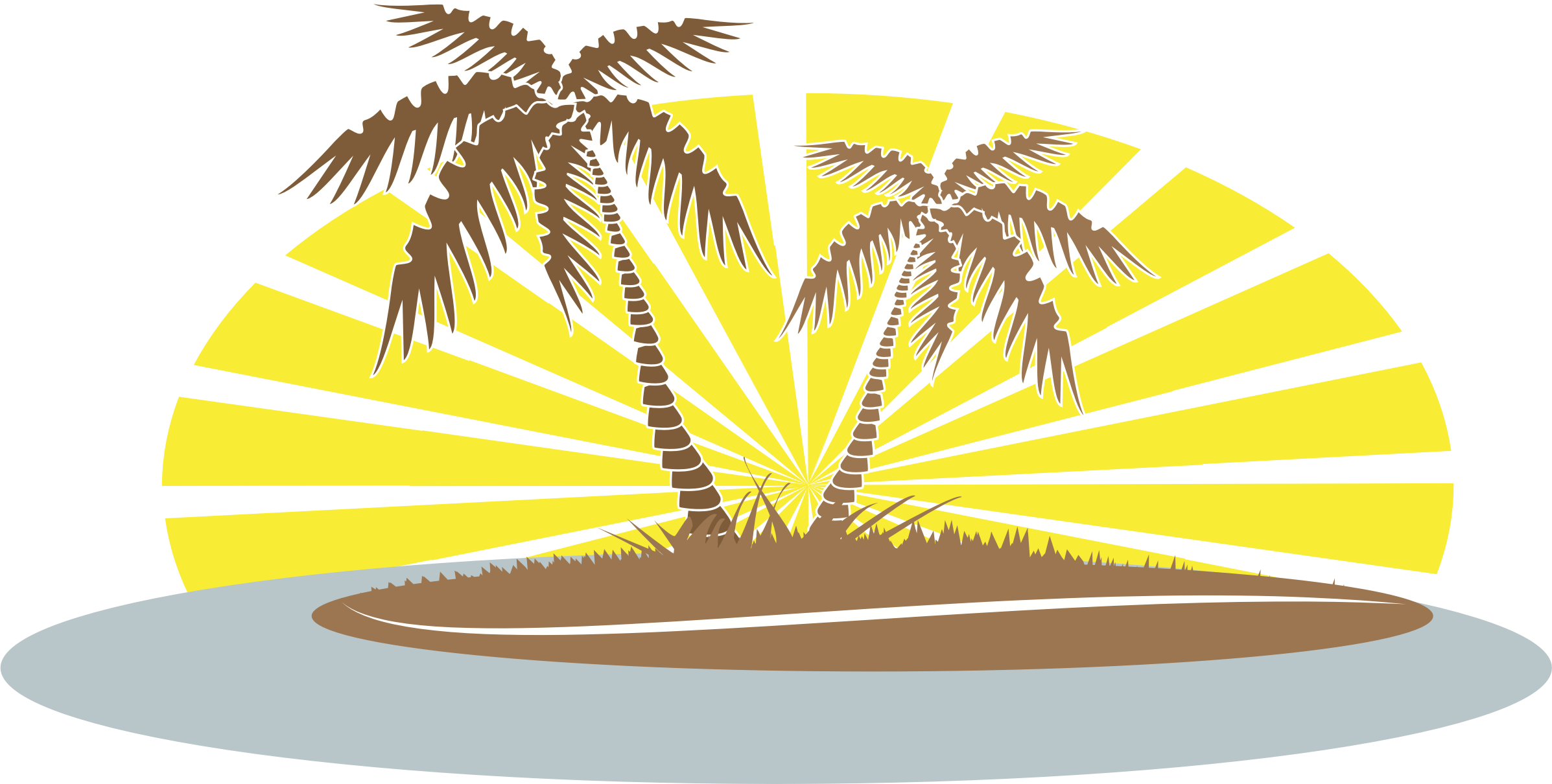 Palm tree on beach clipart graphic black and white stock Clipart - Palm Trees graphic black and white stock