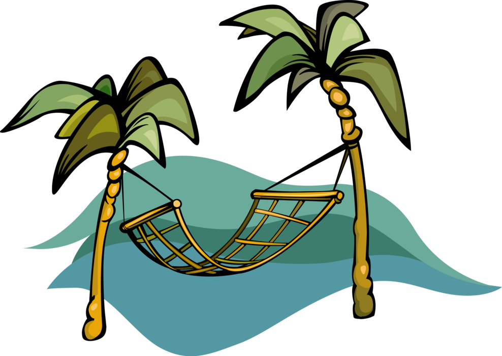 Palm tree and hammock clipart picture transparent library Hammock for Swinging, Sleeping, or Resting - Vector Image picture transparent library