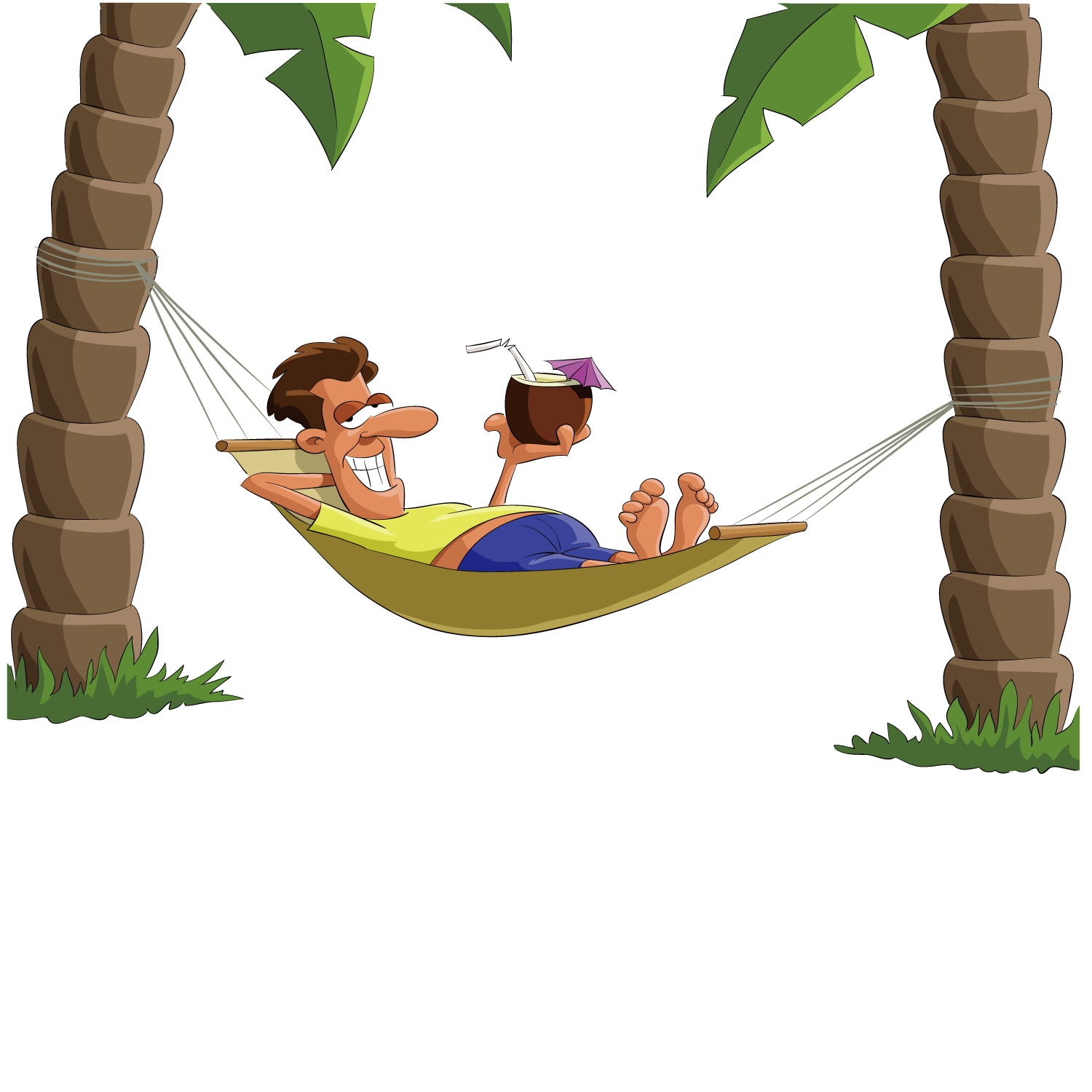 Palm tree and hammock clipart jpg free stock Drawing - Lying on top of the hammock man 1500*1500 transprent Png ... jpg free stock