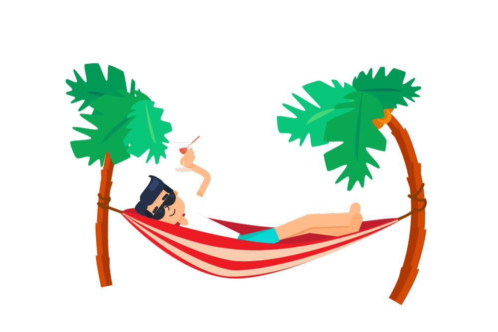 Palm tree and hammock clipart banner transparent stock Best Graphic Illustration Design Services in Boca Raton, West Palm Beach banner transparent stock