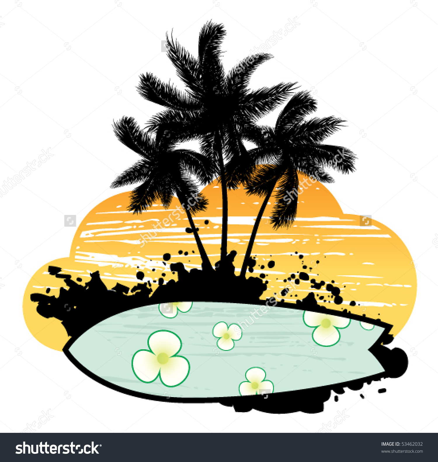 Palm tree and surfboard clipart banner royalty free Abstract With Palm Trees, Flowers And Surfboard Stock Vector ... banner royalty free