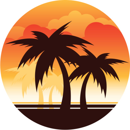 Palm tree and surfboard clipart graphic black and white library Sunset and palm tree clipart - ClipartFest graphic black and white library