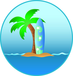 Palm tree and surfboard clipart vector freeuse stock Palm tree surfboard clipart - ClipartFest vector freeuse stock
