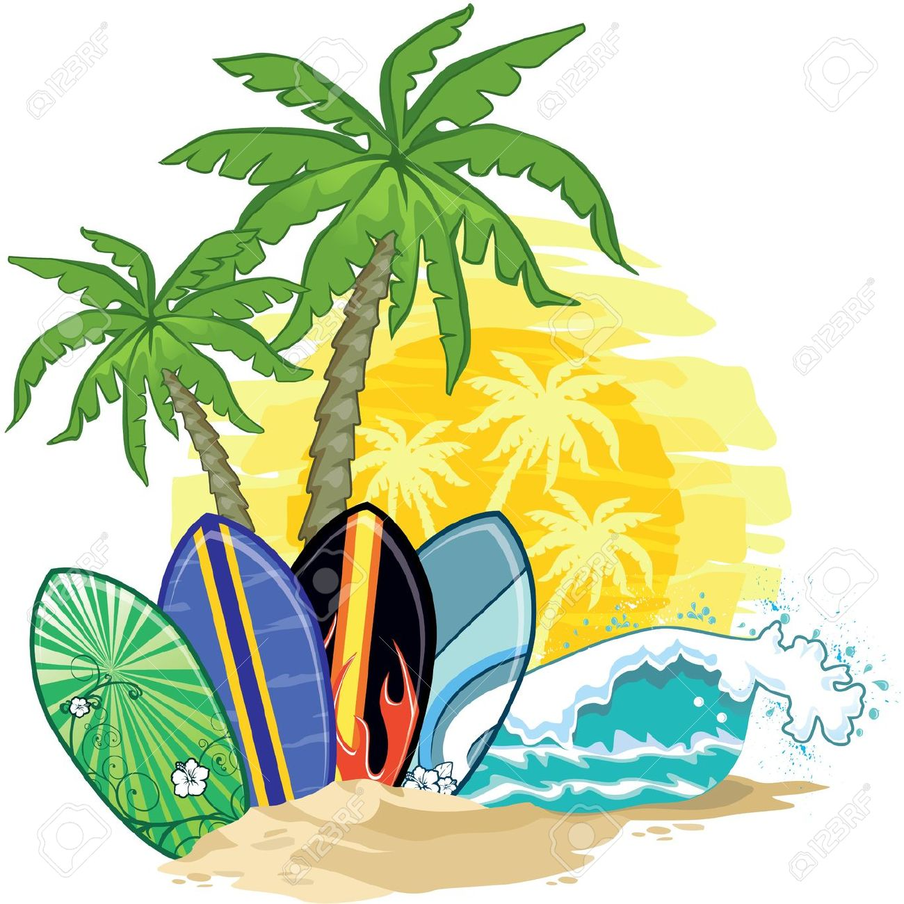 Palm tree and surfboard clipart clipart freeuse stock Surfboard clipart standing palm tree - ClipartFest clipart freeuse stock