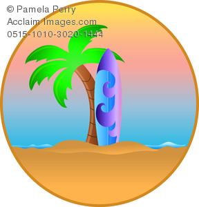 Palm tree and surfboard clipart clip free stock Clip Art Image of a Tropical Hawaiian Island With a Surfboard ... clip free stock