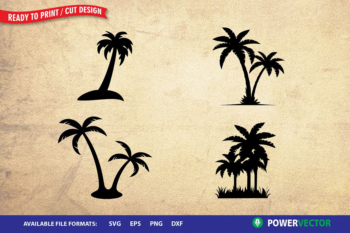 Palm tree clipart for cricut explore air 2 jpg black and white stock Palm Tree SVG  Cutting Clipart for Cricut, Silhouette jpg black and white stock