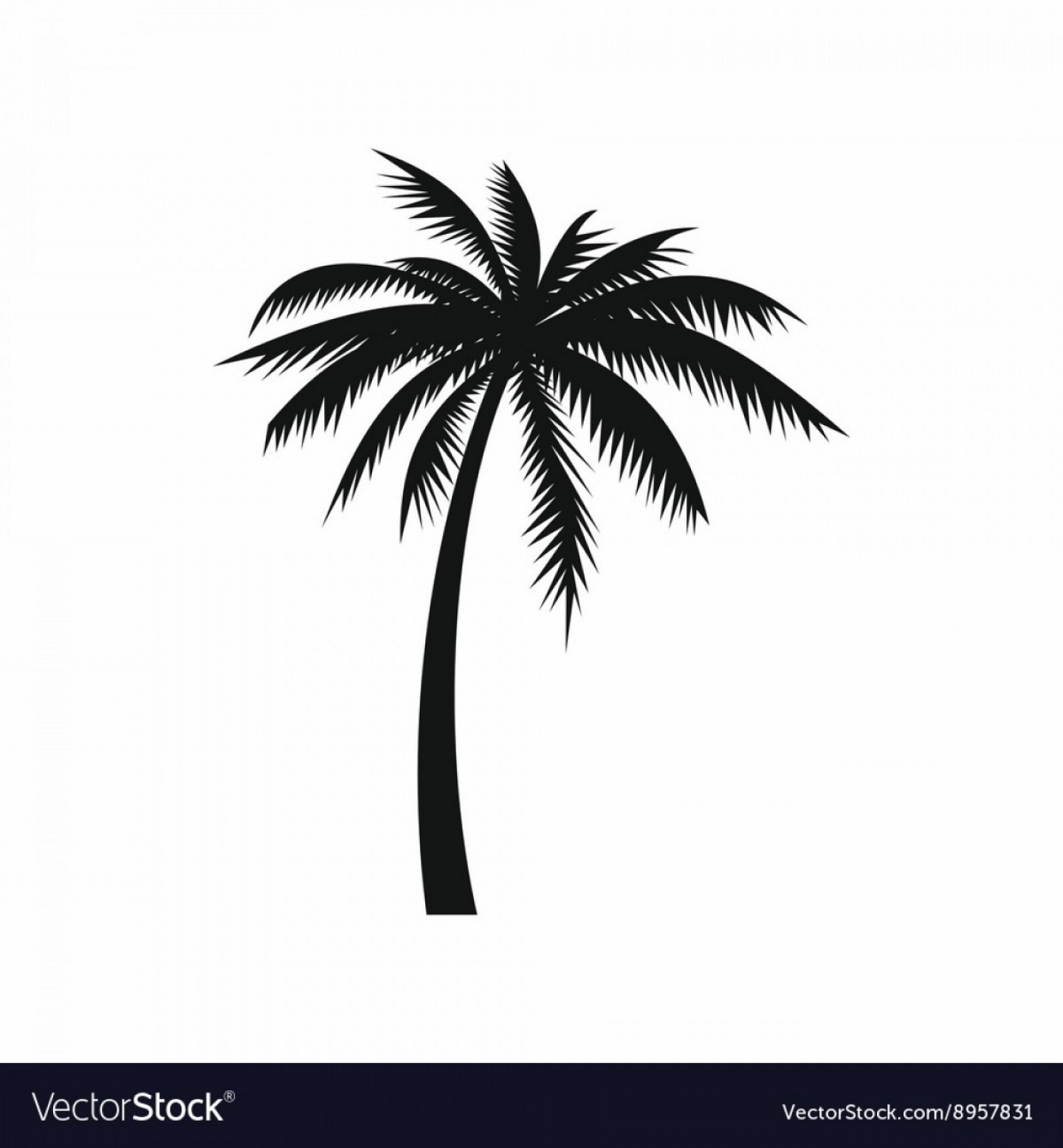 Palm tree icon clipart banner black and white stock Coconut Palm Tree Icon Simple Style Vector | SOIDERGI banner black and white stock