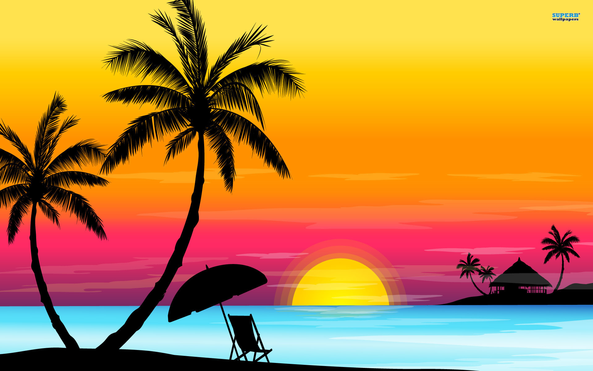 Palm tree sunset clipart 400 pixel by 150 pxl vector black and white Palm tree sunset clipart 400 pixel by 150 pxl - ClipartFest vector black and white