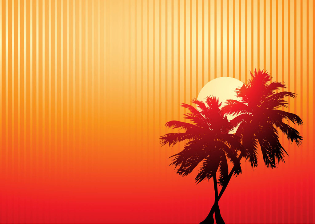 Palm tree sunset clipart 400 pixel by 150 pxl black and white stock Clipart palm tree sunset party - ClipartFest black and white stock