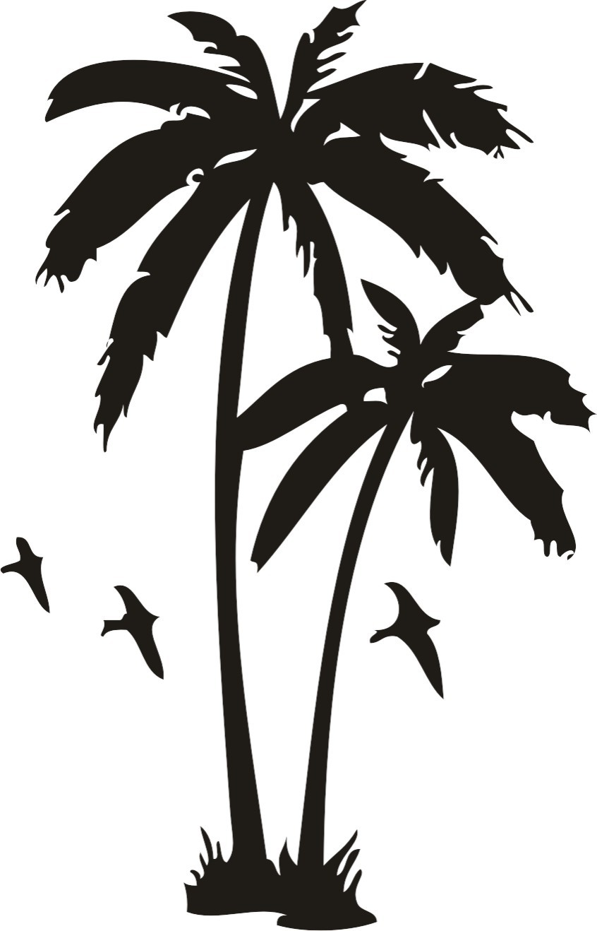 Palm tree sunset clipart 400 pixel by 150 pxl vector black and white stock Clipart palm tree sunset tattoo - ClipartFest vector black and white stock
