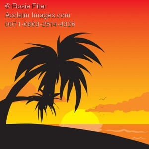 Palm tree sunset clipart 400 pxl by 150 pxl vector black and white stock Palm tree silhouette sunset clipart - ClipartFest vector black and white stock