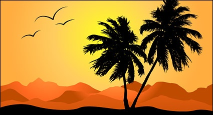 Palm tree sunset clipart 400 pxl by 150 pxl black and white download Clipart sunset with palm tree - ClipartFest black and white download
