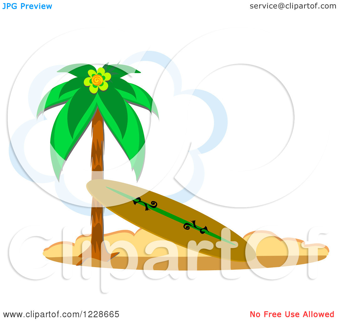 Palm tree surfboard clipart clip black and white Clipart of a Surfboard Leaning Against a Beach Palm Tree| Royalty ... clip black and white