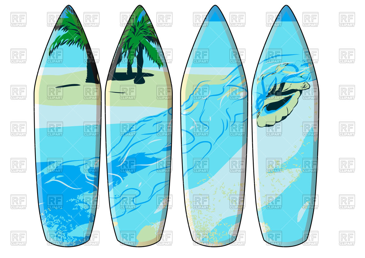 Palm tree surfboard clipart clip free library Surfboards with imprint of hawaii - palm trees and sea Vector ... clip free library