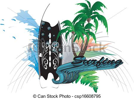 Palm tree surfboard clipart clipart free library EPS Vectors of Surfboard background - Surfboard with wave and palm ... clipart free library