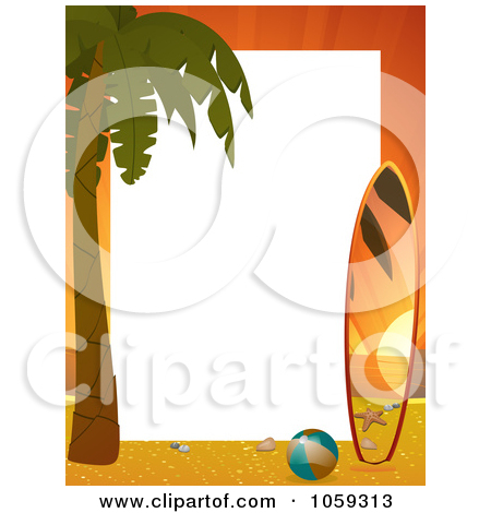 Palm tree surfboard clipart clip art black and white download Clipart of a Vintage Banner Around Surf Boards with Palm Tree ... clip art black and white download
