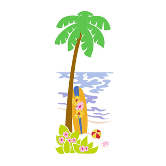 Palm tree surfboard clipart banner stock Elephants on the Wall Palm Tree and Surfboard banner stock
