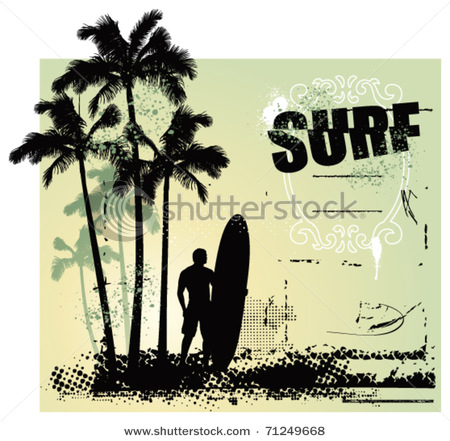 Palm tree surfboard clipart clipart transparent download Grunge Scene with Surfer, Surfboard, Palm Trees - Vector Clipart ... clipart transparent download