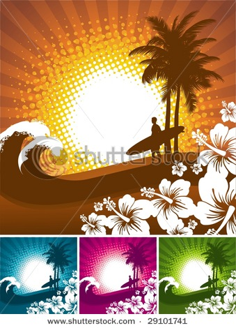 Palm tree surfboard clipart picture library download of a Hawaiian Surfing Scene with Surfer, Surfboard, Waves, Palm ... picture library download