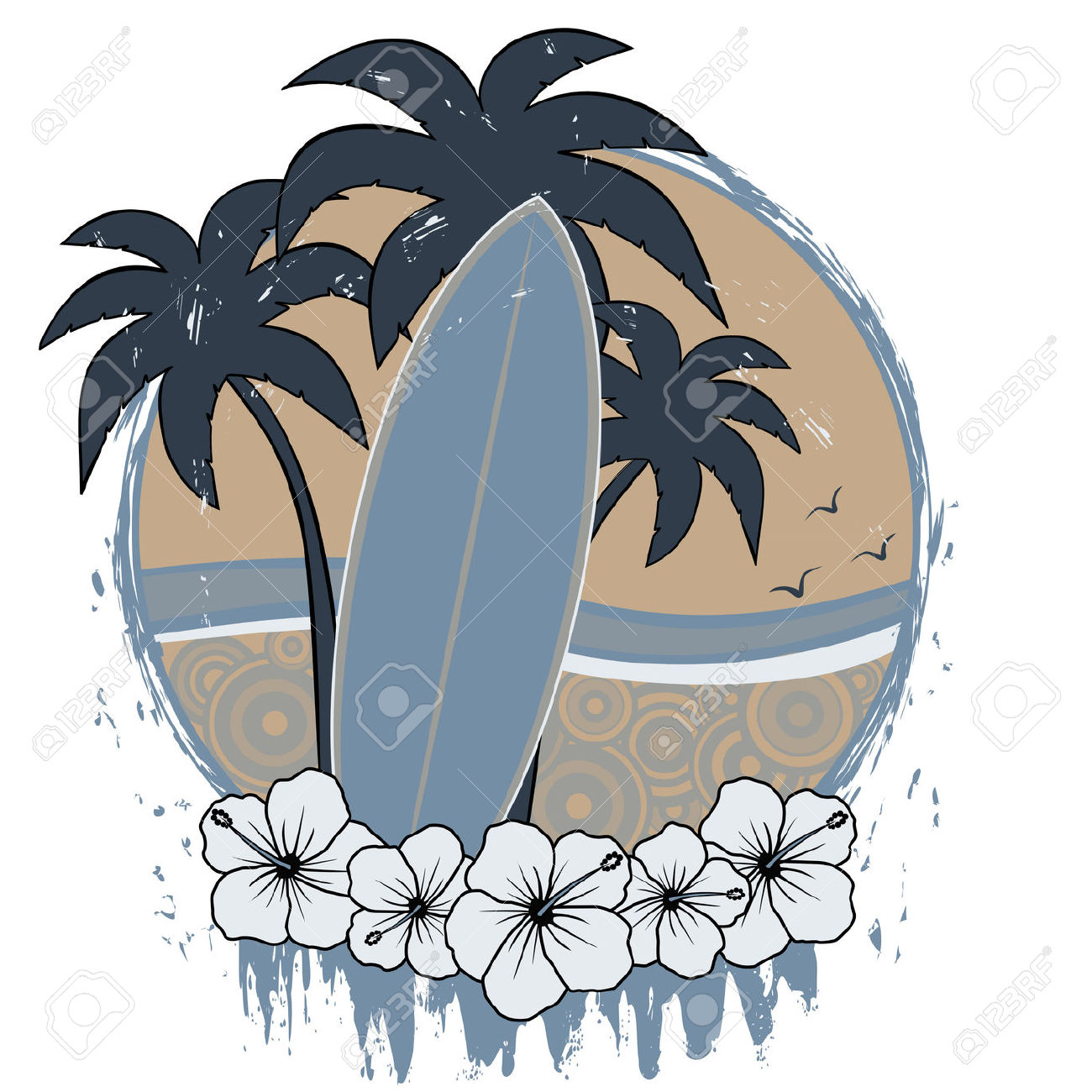 Palm tree surfboard clipart png Surfboard With Palm Trees And Hibiscus Flowers With Retro Beach ... png