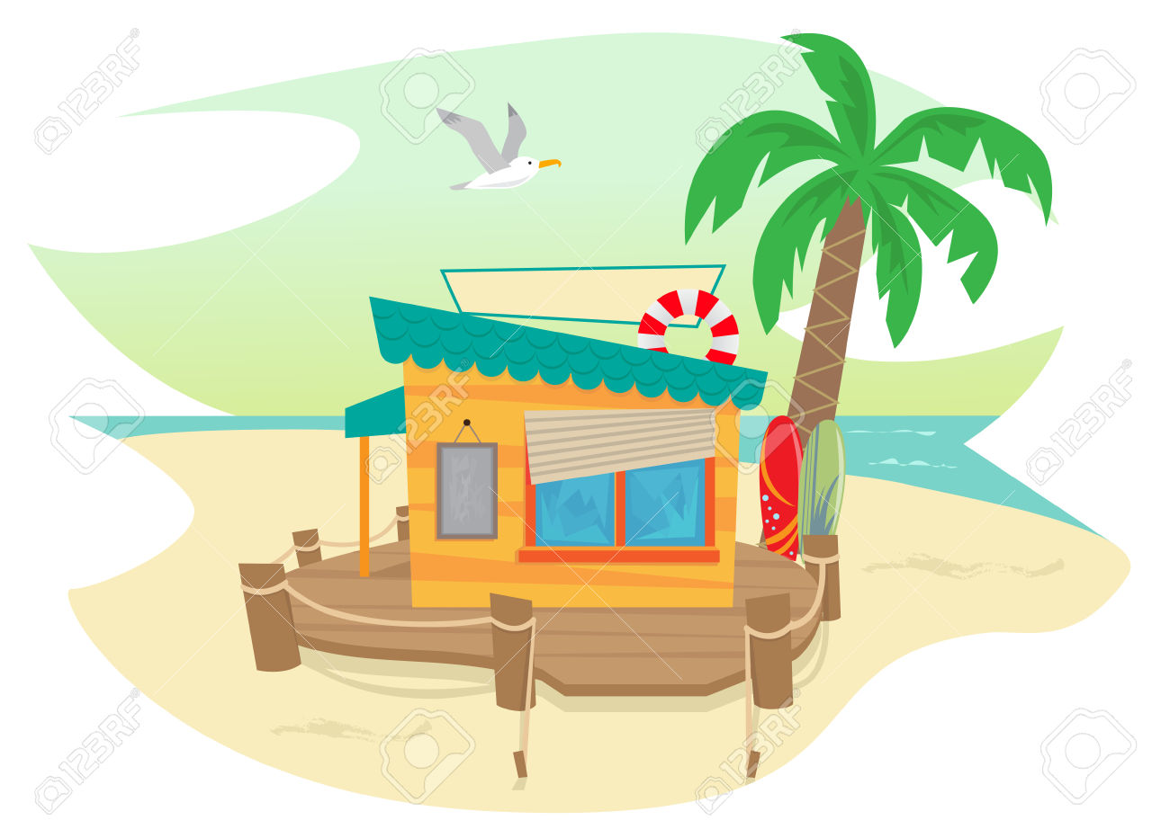 Palm tree surfboard clipart vector black and white download Beach Shack - Cute Beach Shack And A Palm Tree, Surfboards, Flying ... vector black and white download