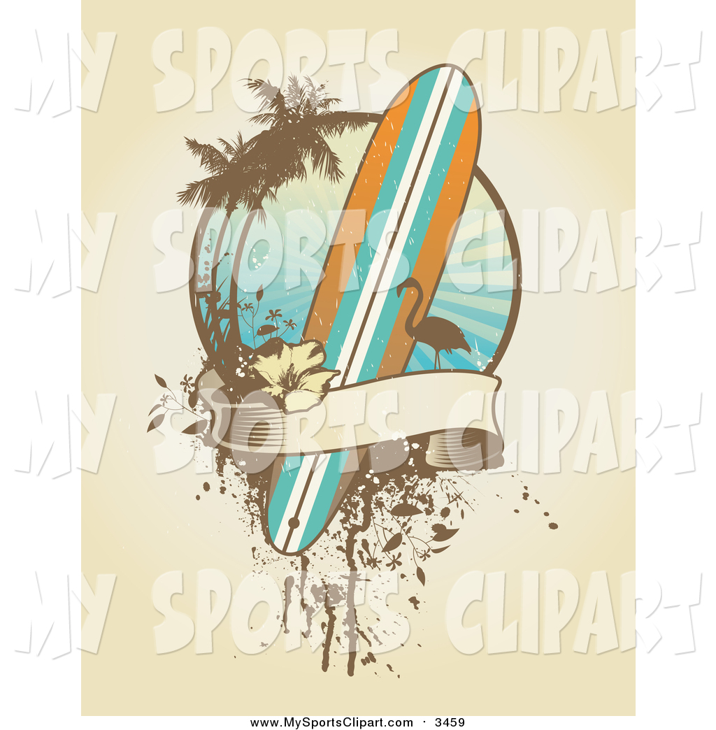Palm tree surfboard clipart transparent stock Sports Clip Art of a Surfboard, Flamingo, Palm Tree and Banner ... transparent stock