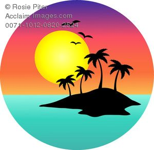 Palm trees sunset clipart jpg transparent library clip art image of a tropical island with a full moon | Misc ... jpg transparent library